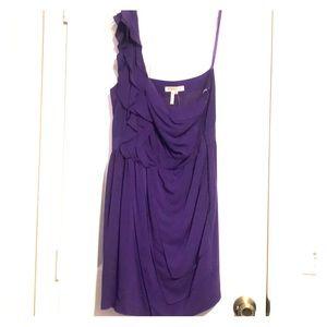 BCBGeneration Purple One Shoulder Ruffle Dress
